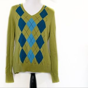 Izod Green Argyle Pull Over Large Sweater
